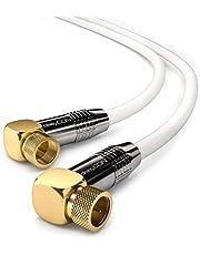 deleyCON 1m SAT Antennekabel HDTV Satellietkabel Coaxiale Kabel 2x Hoekig - F-Stekker (90° Graden) naar F-Stekker (90° Graden) - Metalen Stekker - Wit