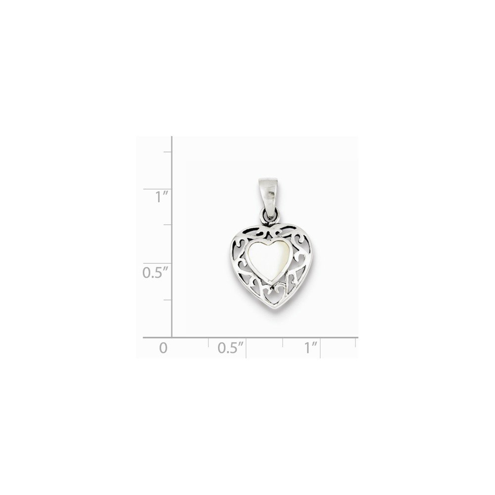Mia Diamonds 925 Sterling Silver Mother of Pearl Heart Antiqued Pendant