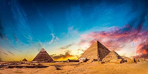 10x6.5ft Pyramid Egypt Polyester Photography Background Pharaoh Beauty Colorful Sunset Glow Ancient History Studio Video Photo Prop Backdrop Decorate Poster Video Back Drop
