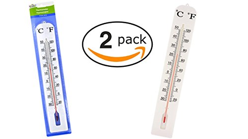 Giant Thermometer Classroom (Outdoor Thermometer - Indoor Thermometer (2 Pack) Easy to Read Jumbo Thermometers - Temperature Gauge - Wall Thermometer)