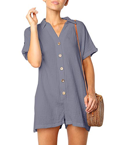 Ofenbuy Womens V Neck Jumpsuits Shorts Short Sleeve Button Oversized Summer Rompers with Pockets Grey (Button Romper)