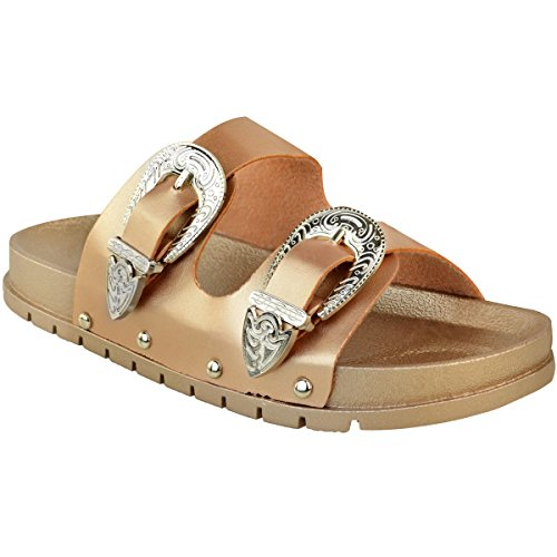 Fashion Thirsty Ladies Womens Studded Buckle Slip On Mules Summer Sliders Sandals Shoes Size Rose Gold Metallic / Silver Buckle