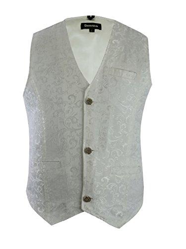Mens Vest Waistcoat Gothic Steampunk Victorian (XXX-Large, Brocade/White) (Brocade Mens)
