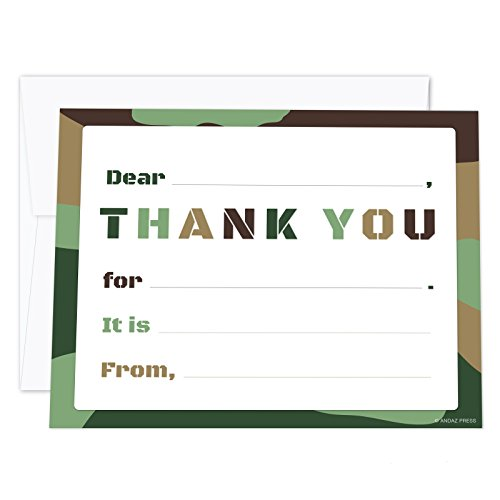 Andaz Press Kids Thank You Note Cards with Envelopes, Military Camouflage Video Game Theme, 20-Pack, Boys and Girls Children's Thank You for Party Gifts Stationary -
