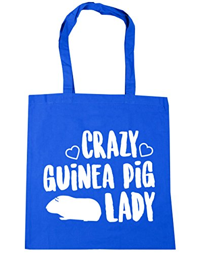 HippoWarehouse Crazy guinea pig lady Tote Shopping Gym Beach Bag 42cm x38cm, 10 litres Cornflower Blue