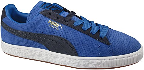 Puma Men's Suede Classic Basket Weave Fashion Sneakers French Blue/New Navy (9.5 D(M) US Mens, French Blue/New Navy)