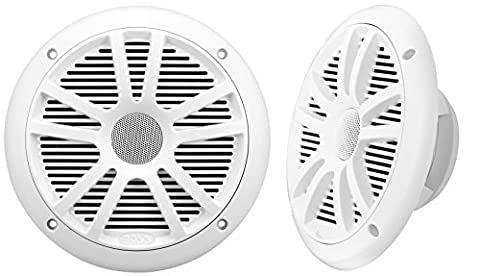 BOSS Audio MR6W 180 Watt (Per Pair), 6.5 Inch, Full Range, 2 Way Weatherproof Marine Speakers (Sold in (White Ion Speaker)