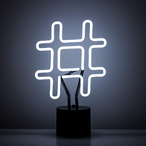 Amped & Co Neon Hashtag Symbol Desk Light, Real Neon, White, Large 8 x 13 inches, Home Decor Neon Signs For Unique Rooms