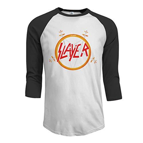 Menike Men's Casual MaNeg Slayer Rock Band Raglan Baseball T-Shirt 3/4 Sleeve Black ()