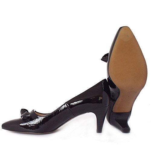 Peter Kaiser Damas De Leola Medio Tacón Corte Zapatos En Crackle Negro Patente BLK CRACKL