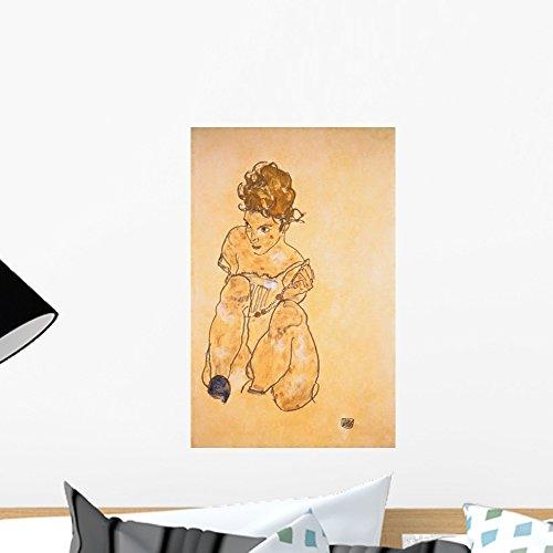 - Wallmonkeys Seated Girl in Slip Egone Schiele Wall Decal Peel and Stick Graphic WM60141 (18 in H x 12 in W)