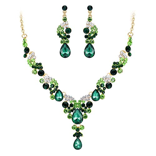 Rhinestone Jewelry Tone Set Gold - EVER FAITH Rhinestone Crystal Bridal Floral Wave Teardrop Necklace Earrings Set Green Gold-Tone