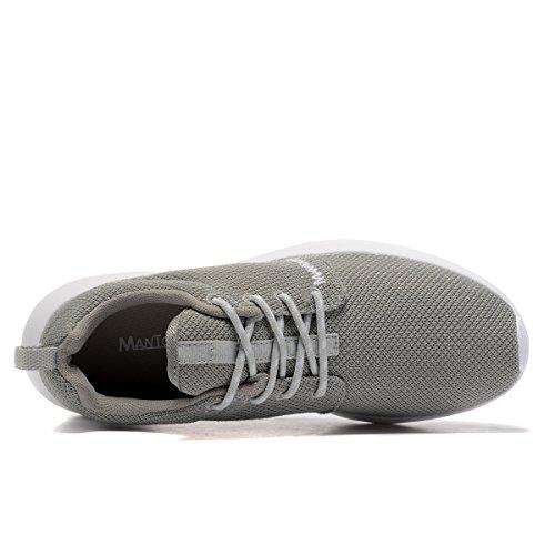 MANTOONE Männer Frauen Sport Laufschuhe Mode Atmungsaktives Mesh Weiche Sohle Beiläufige Athletische Leichte Unisex Sneakers Grau