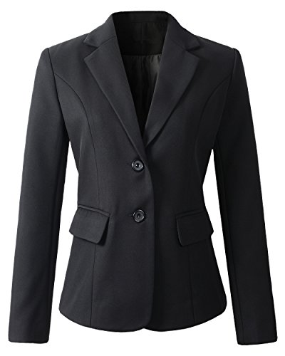 Benibos Womens Formal 2 Button Blazer Jacket (M, 918Black)