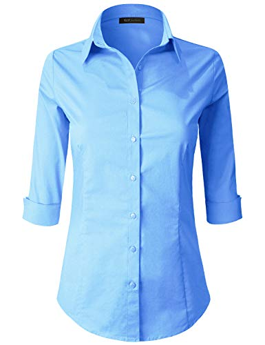 3/4 Sleeve Petite Blouse - ELF FASHION 3/4 Sleeve Stretchy Button Down Collar Office Formal Casual Shirt Blouse for Women (Size S~3XL) Blue M