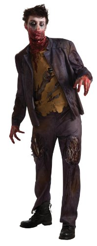 Thriller Costumes Zombies (Rubie's Costume Men's Adult Zombie Shawn Costume, Brown/Black, Standard)