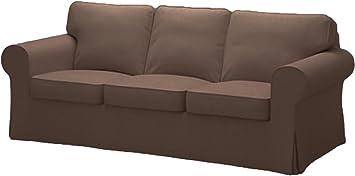 IKEA Ektorp 3 Seat Sofa Cotton Cover Replacement is Custom Made Slipcover for IKEA Ektorp Sofa Cover (Coffee Cotton)