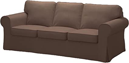 IKEA Ektorp 3 Seat Sofa Cotton Cover Replacement is Custom Made Slipcover for IKEA Ektorp Sofa Cover (Light Gray Durable Cotton)