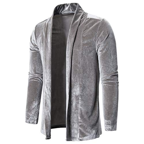 Mens Pure Color Gold Velvet Trench Coat Cardigan Long Sleeve Outwear Jacket Tops Gray