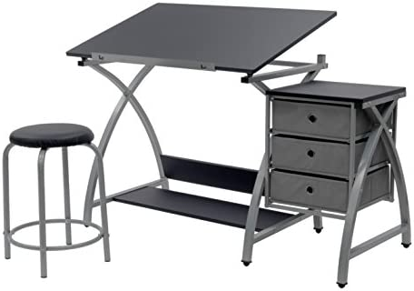 SD Studio Designs Studio Designs 2 Piece Comet Art, Hobby, Drawing, Drafting, Craft Table with 36 W x 23.75 D Angle Adjustable Top and Stool in Silver Black, Assembled Dimensions 50 W x x 29.5 H