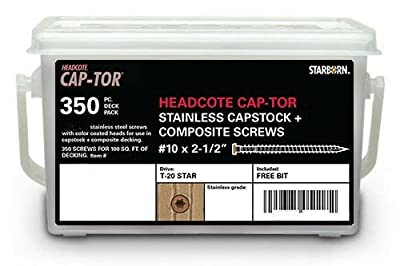 """Headcote #7 x 1-5/8"""" - #34 Brown - Stainless Steel Trim Head Deck Screws - 350 pc. Deck Pack for 100 Sq. Ft. of Decking - STX34T07162"""