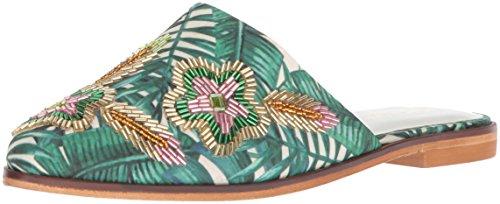 Kenneth Cole Reaksjon Womens Hastighet Slip På Flat Floral Broderi Muldyr Multi