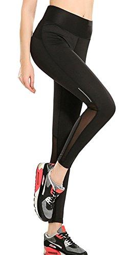 La Vogue Legging Pantalon Sport Yoga Pants Noir Skinny Taille Haut Stretch Femme