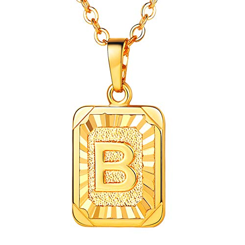 U7 Monogram Necklace Gift for Women 18K Gold Plated Square Script Initial Jewelry Letter Pendant (Letter B)