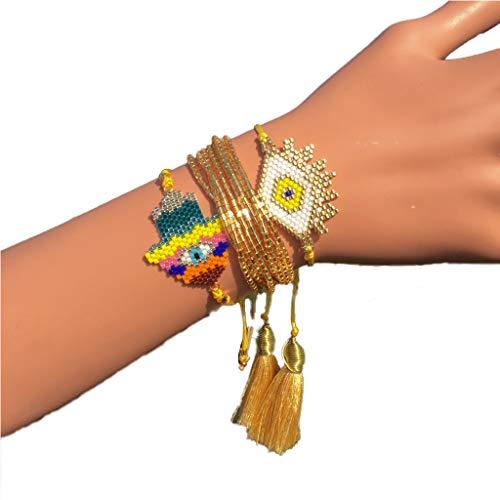 Dfsdmlp Handmade Evil Eye Miyuki Seed Beads Bracelets Set Loom Woven Friendship Jewelry