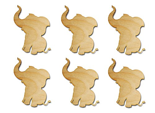 (Elephant Shape Unfinished Wood Animal Cut Outs 3