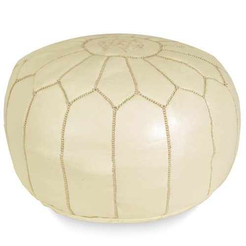 Mina Stuffed Moroccan Leather Pouf Ottoman, Many Colors Available, 20'' Diameter and 13'' Height (Cream) by Mina Poufs