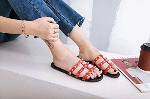 Spring Estudiante Zapatos Summer Red Mujer Flat de AIKAKA de Rivet Zapatillas w6tqgHfWzf