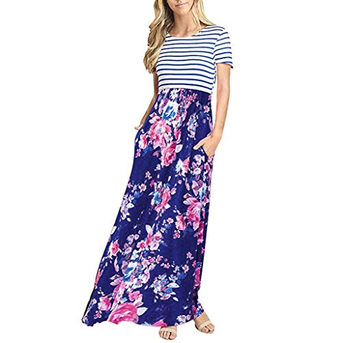 ASOBIMONO Women's Summer Striped Short Sleeve O-Neck Long Maxi Dresses Dress with Pockets Blue
