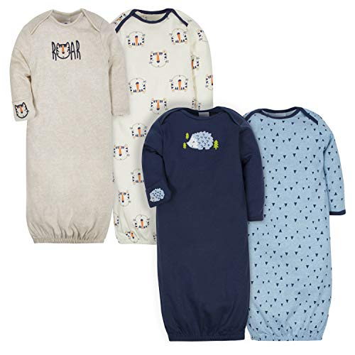 Gerber Baby Boys' 4-Pack Gown, Tiger/Hedgehog, 0-6 Months (Bottom Gown)