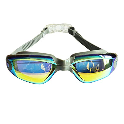 Flurries  Swimming Goggles - Underwater Glasses No Leak Wide View - UV Protection Anti-Fog Lenses - Comfortable Nosepiece - Button Easy to Take Off - Adult Men Women Youth (Gray)