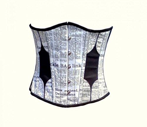 優遇レンダー記念品Cotton Black N White Leather Newspaper Print Goth Burlesque Underbust Corset Top