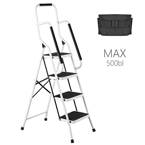 Tool Ladder 4 Steps Folding Portable Steel Frame MAX 500 lbs Non-Slip Side armrests Large Area Pedals Detachable ToolBag Suitable for Home Office Engineering ()