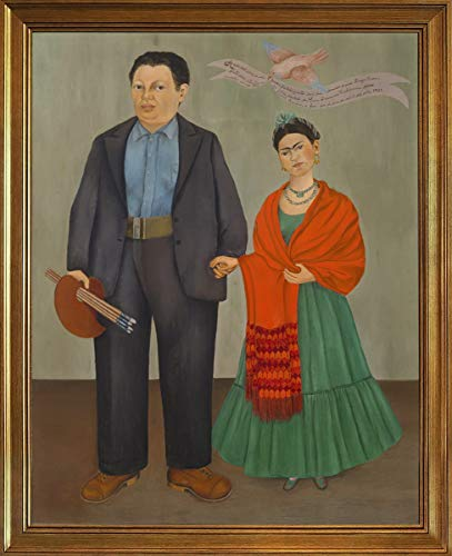 Berkin Arts Classic Framed Kahlo de Rivera Giclee Canvas Print Paintings Poster Reproduction(Frida and Diego Rivera) (Painting Of Frida Kahlo And Diego Rivera)