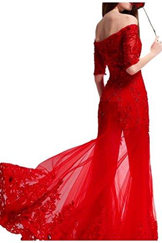 VICTORY Bridal fabuleuses Rouge perles paillettes dentelle Mermaid de soir longue StandART42Balle 2015Neuf