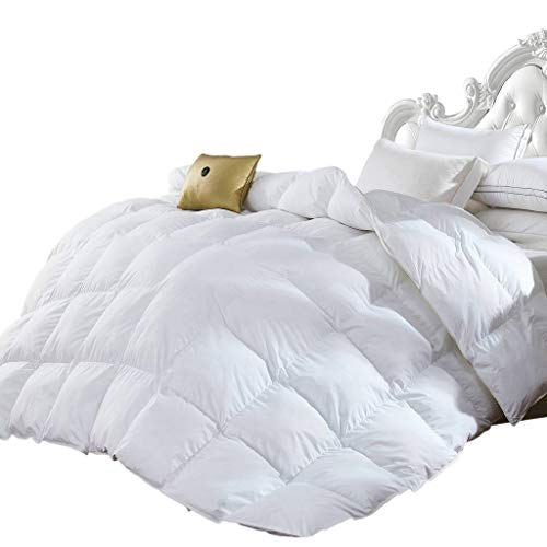 Grandeur Linen's King Size Luxurious 1200 Thread Count Goose Down Alternative Comforter, 100% Egyptian Cotton Cover, Solid White Color, 750 Fill Power, 50 Oz Fill Weight