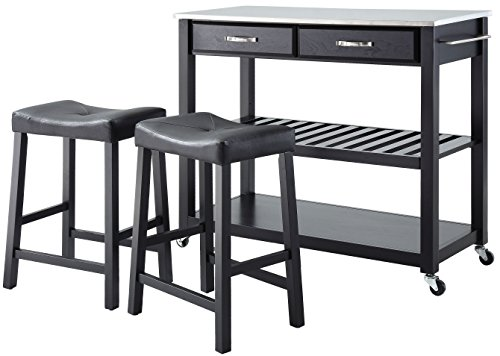 Crosley Furniture Portable Kitchen Cart with Stainless Steel Top and 24-inch Upholstered Saddle Stools - Black (With Breakfast Island Stools)