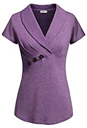 Sixother Formal Professional Clothes Fall Ladies Fitted Sofy Hoodies Sweatshirts Sweater Office Attire For Work Henley V Neck Chiffon Blouses Pullover Top Flattering Dressy T Shirts Purple