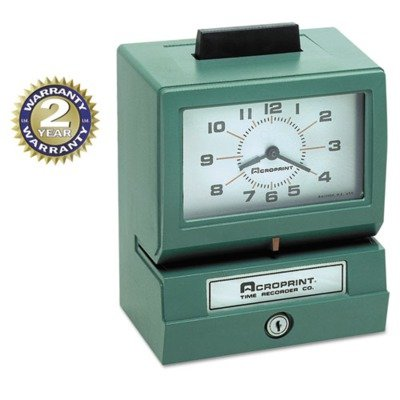 Acroprint Model 125 Analog Manual Print Time Clock w/Date/0-12 Hours/Minutes, EA - ACP011070400 by Acroprint