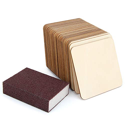 36 Pack 4 Inch Unfinished Wood Pieces Plaque Square Blank Wood with Sanding Sponge Round Corner Wood Coasters Wooden Cutouts for Painting, Writing, DIY Arts Crafts Project, Decoration