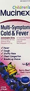 Mucinex Children's Multi-Symptom, Cold & Fever Liquid, Berry Blast, 24oz (6X4oz)