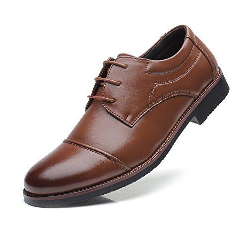 de EU Color Mate Empalme Brown shoes Formales Respirables Fang Size Brown Oxfords PU Cuero Zapatos Hombre de Hombre Forrados de 2018 Zapatos 42 para Negocios Arriba Encajes 7Pv14wq
