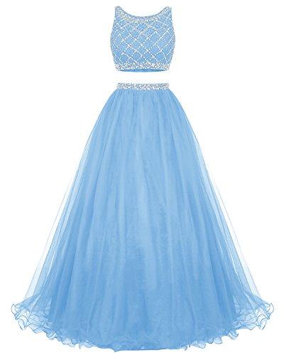 Di Vestito Da Blu Del Di Partito Perline Damigella Due Bridesmay Promenade A Vestito Pezzi Lungo Da Del Tulle D'onore wIdSxqdC