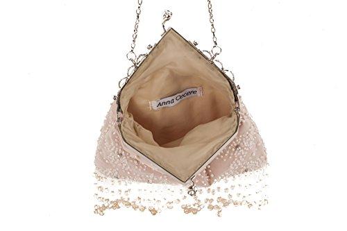 Pochette AC 755 Visone, borsetta in tessuto con ricami in jaiss
