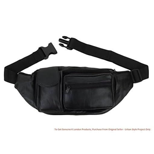 K London Stylish Leather Black Waist Bag