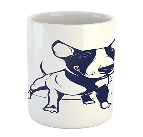 Lunarable Bull Terrier Mug, Pet Lover Themed Monotone Cartoon Style English Breed Dog Illustration, Printed Ceramic Coffee Mug Water Tea Drinks Cup, Indigo and White